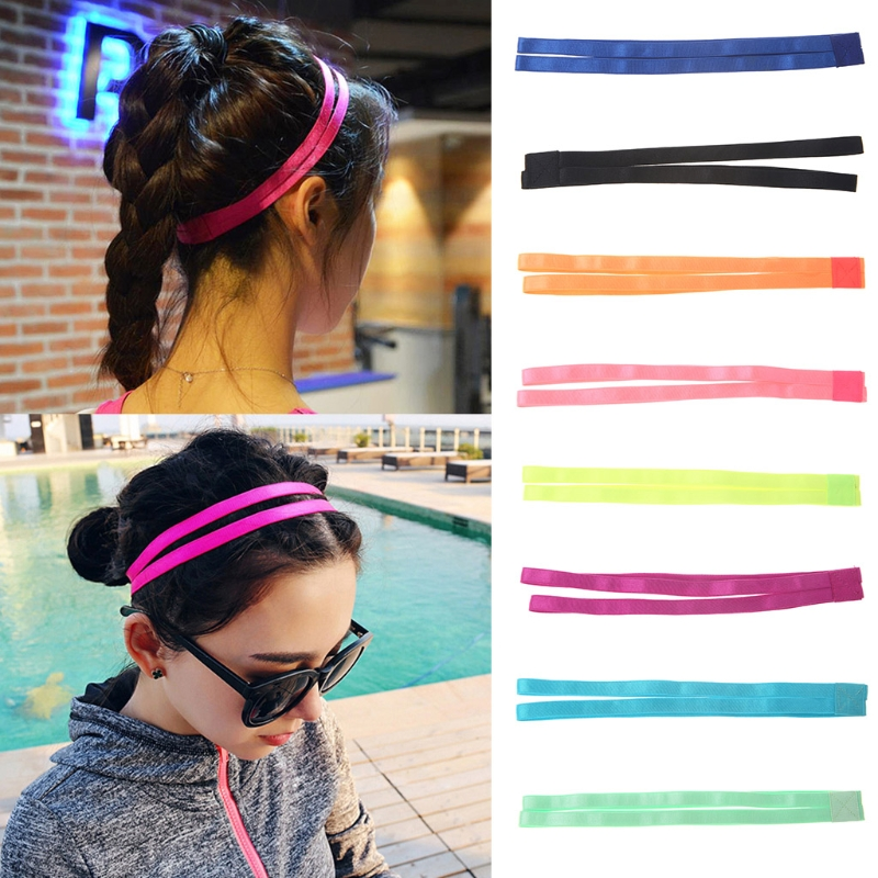 Women New Sport Hair Band Elastic Anti Slip Exercise Accessory Unisex Double Rope Headband Solid Candy Color Hairband pink crystal double layer classical hair stick vintage hair accessory hair stick hanfu hair accessory