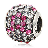 1PCS Lot European 925 Sterling Silver Pave Lights Pink Ribbon Charm With Austrian Crystal Fits Bracelets