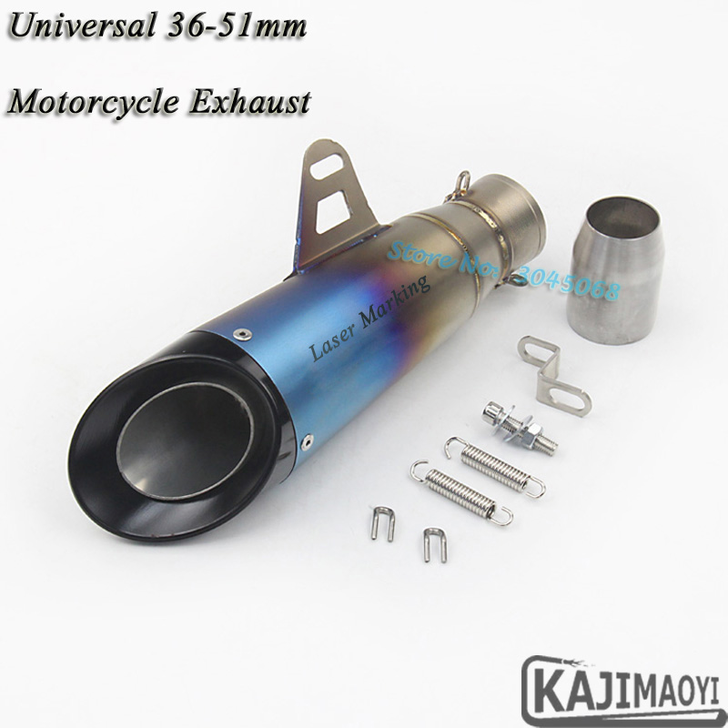 Motorcycle 36-51MM Exhaust Pipe Escape Modified Laser Muffler Moto Exhaust For HONDA CBR500 NC700 Kawasaki Ninja300 Z900 R6 R1 laser mark motorcycle modified muffler sc carbon fiber exhaust pipe for ducati xdiavel s streetfighter s 1100s 1092 848