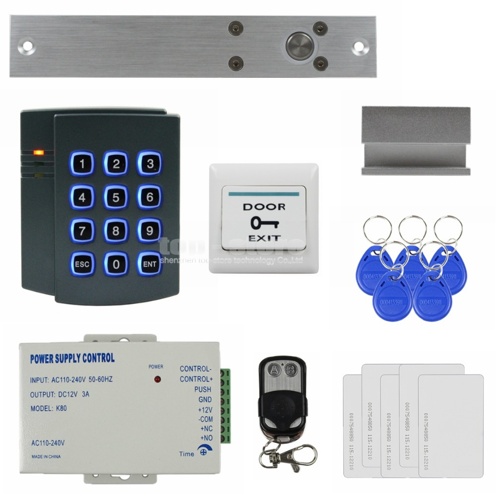 DIYSECUR Electric Bolt Lock Remote Control 125KHz RFID ID Card Reader Password Keypad Access Control System Security Kit 2501