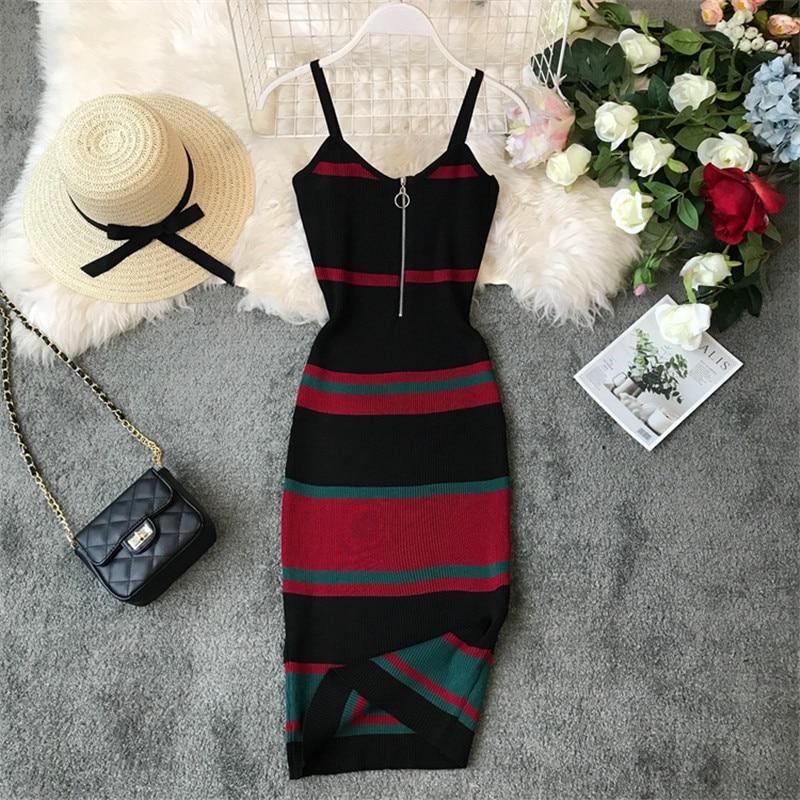 OCEANLOVE Sexy Dress Vintage Striped Bodycon Korean Zipper Vestido V-neck Knitting Stretch Midi Dresses Summer Dress Women 12132