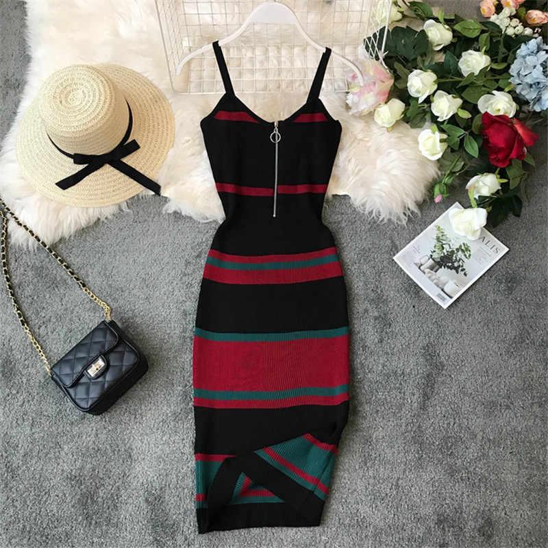 Океанlove сексуальное платье винтажное Полосатое облегающее корейское платье на молнии Vestido с v-образным вырезом трикотажное стрейчевое платье миди летнее платье женское 12132