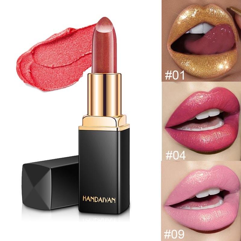 New Arrival Glitter Lipstick Colors Metallic Waterproof Long Lasting Batom Red Gold Change Color Lip Stick Lot Women Beauty
