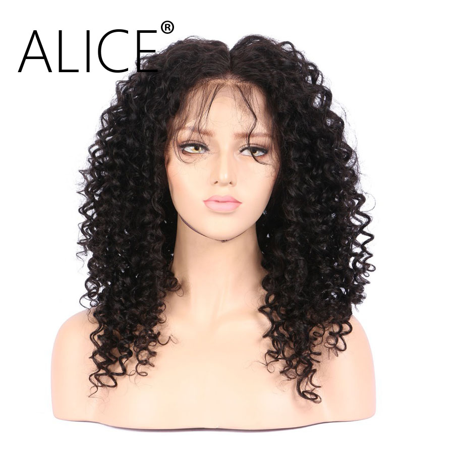 ALICE 360 Frontal Wig Bleacked Knots Brazilian Curly Human Hair Wigs  (2)