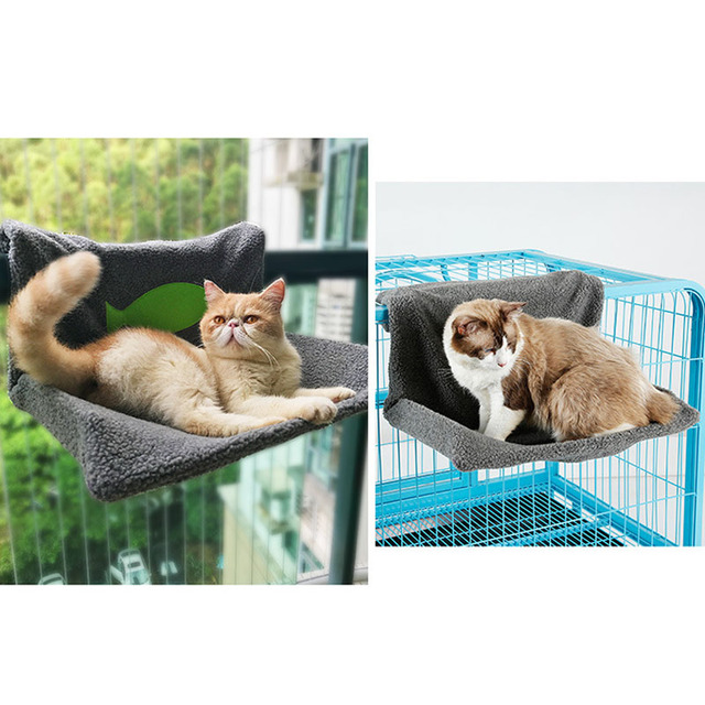 Pawstrip Pet Cat Hammock Hanging Beds Soft Fleece Cat Bed Winter Warm Cat Window Bed 48*40*25cm