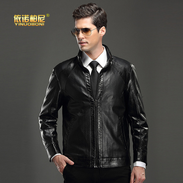 2015 New Winter Men's Leather Jacket Collar Stitching Simulation Slim Short Men Pu Cashmere Leather CoatMen's real sheep leather