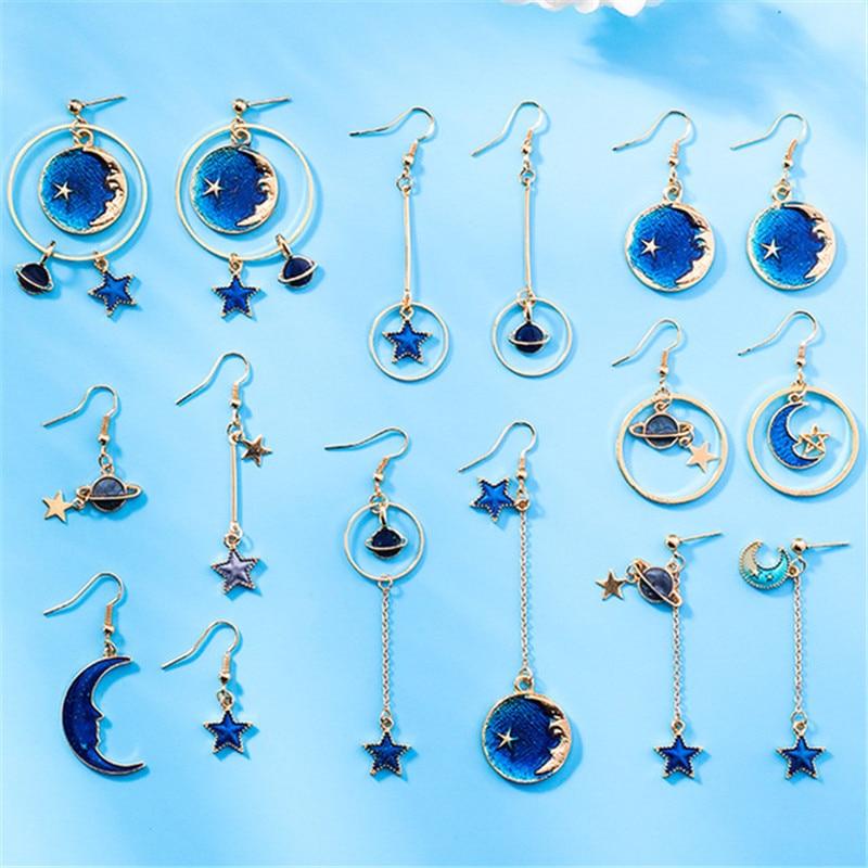 Модные Синие Звезды Луна асимметричные серьги-подвески для женщин геометрический сладкий дикая планета Подвеска Серьги женские подарки