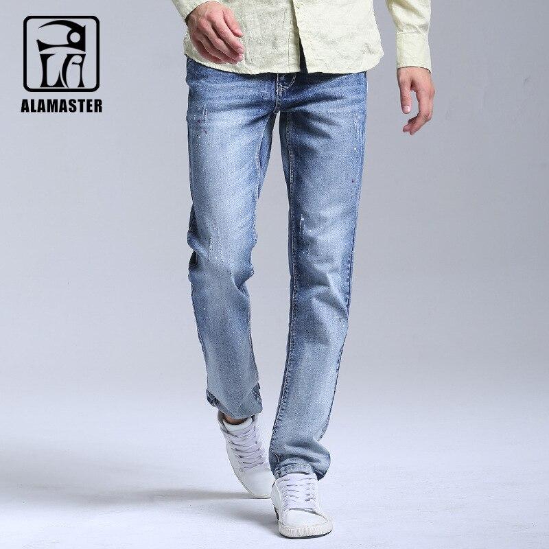 A LA MASTER Ink Thin Free Shipping 2017 Mens Fashion Jeans Menpants Clothes New Fashion Brand Light Blue Jeans 61580294