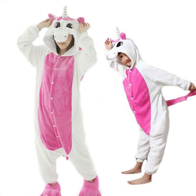 Adult Unicorn Pajamas Hombre Winter Flannel Animal Pijama Pink Unicornio For Women Mother Daugher Family Pajamas Set TC010