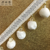 New 6M 7 5cm Wide Pompon Beads Curtain Lace Accessories For Drapery DIY Sewing Tassel Fringes