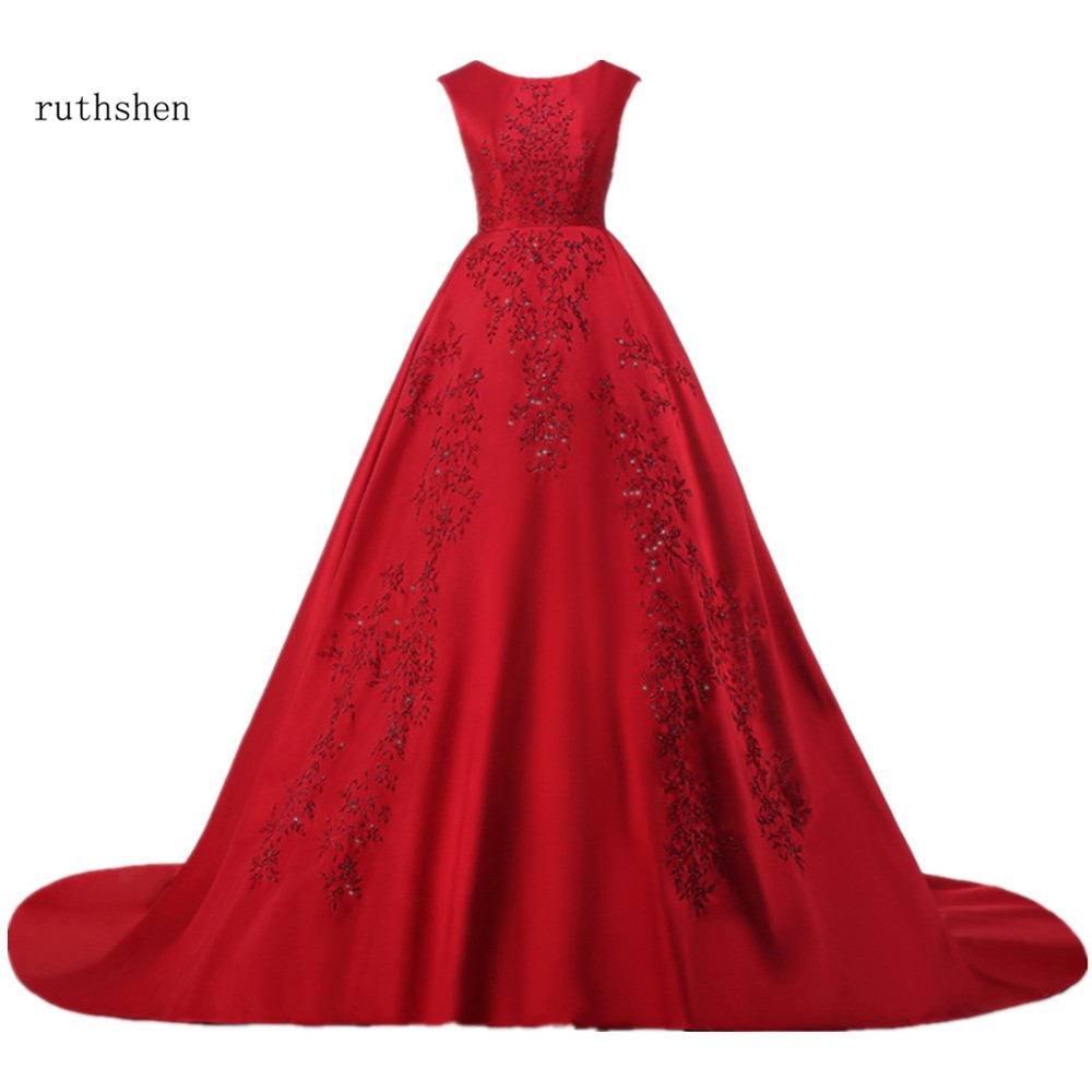 ruthshen Burgundy Long   Evening     Dresses   O-Neck Embroidered Beaded Sequins Backless Robe De Soiree Sirene Red Vestidos De Noite