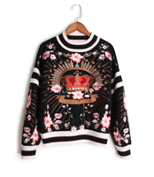 2018 Fashion Pullover Sweaters Women Crown Embroidery Wool Knitted Sweaters Ladies Blue Black Casual Jumpers Lady Plus Size Top