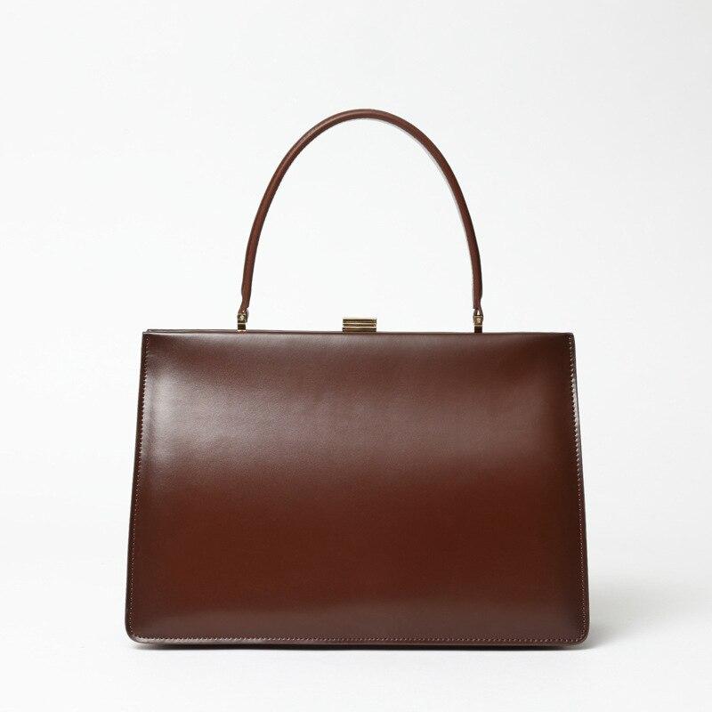 High Quality Retro Style Cow Leather Box Bag Women Top Handle Bags Handbags Elegant Purse Day Hand Clutch