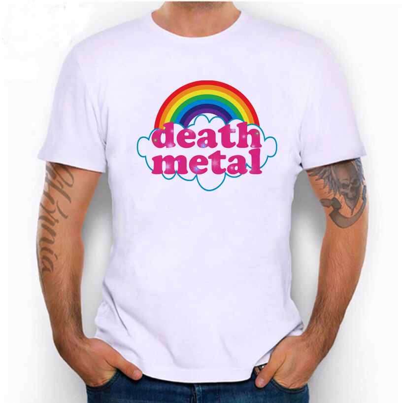 Hillbilly New Fashion Cute Rainbow Death Metal Funny Style Printed   T     shirt   Man's Clothing Cool Street Casual O-Neck Short Sleeve
