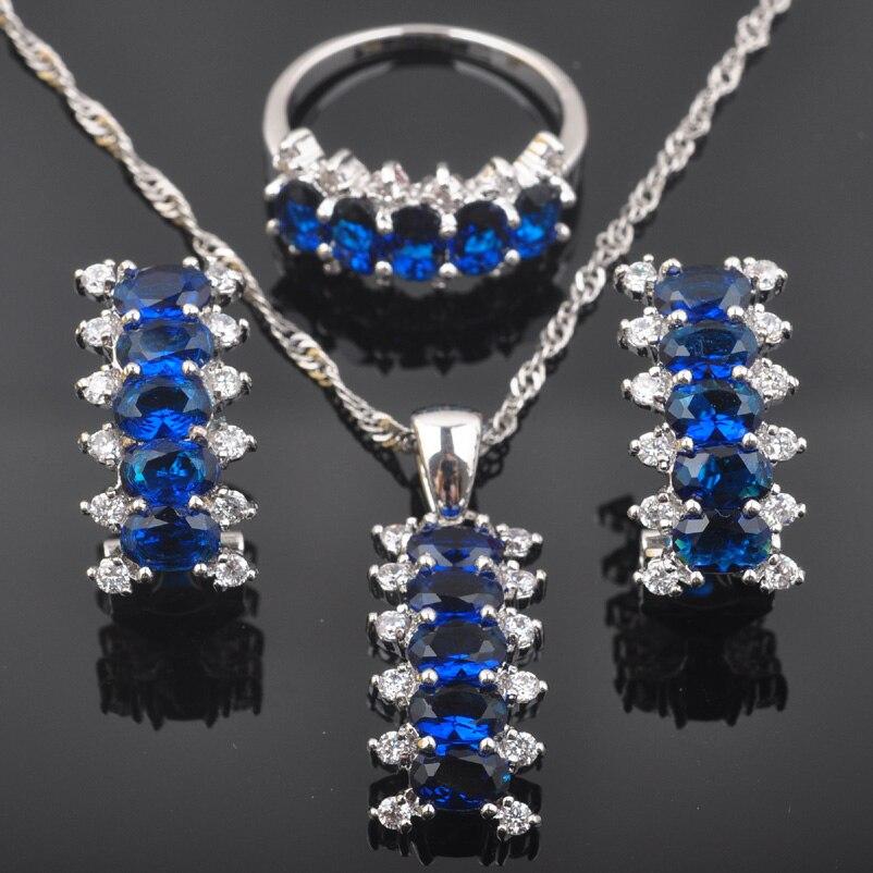Brautschmuck Sets Beste Geschenk Blau Zirkonia Für Frauen Hochzeit Schmuck 925 Sterling Silber Schmuck Sets Halskette Anhänger Ohrringe Ring Qz0558 HöChste Bequemlichkeit