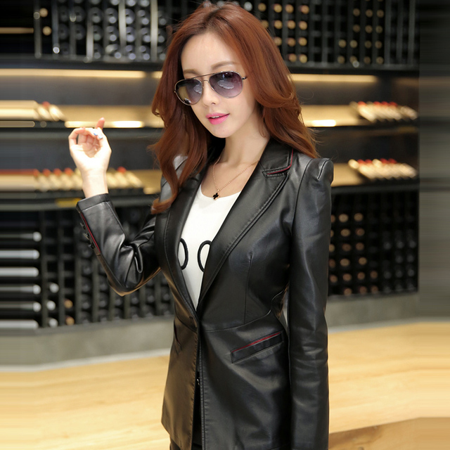 2016 spring and autumn leather jacket women's clothing slim suit collar lady leather coat outerwear