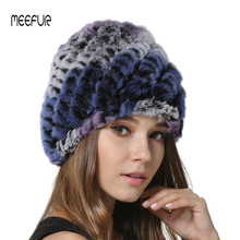 2018 New Multicolor Real Fur Hats Womens Winter Rex Rabbit Beanies Ladies Knitted Skullcaps with Elasticity LX00950