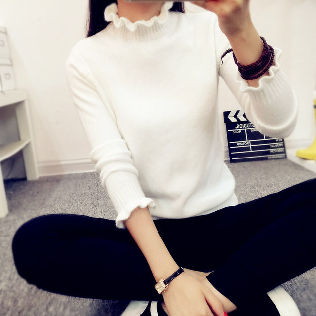 d07c9222497 2017 Spring Autumn Winter Fashion Women Sweater Solid Half Turtleneck  Sweater Women Bottoming Knitted Pullovers