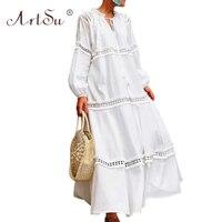 ArtSu 2019 Fashion White Maxi Party Dress Women Runway Sexy Hollow Out Vestidos Ruffle Tie V Neck Tassel Holiday Boho Long Dress