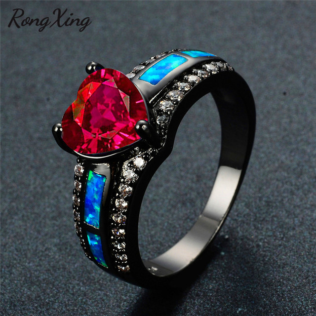 1b06e779719f3 US $6.99 40% OFF|RongXing Rose Red Heart Zircon Blue Fire Opal Rings For  Women Vintage Black Gold Filled Birthstone Rings Fashion Jewelry RB1352-in  ...