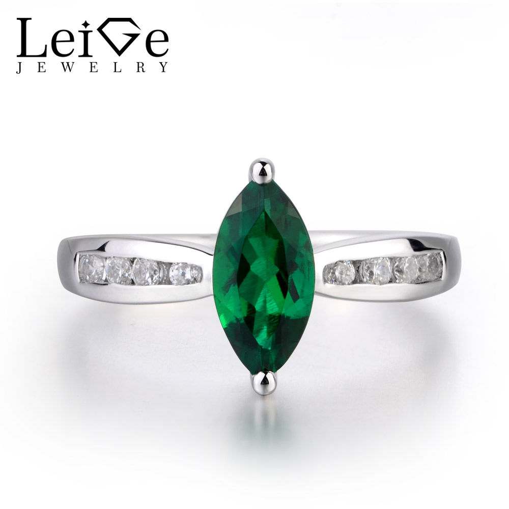 LeiGe Jewelry Emerald Wedding Rings Marquise Shape Green Gemstone Rings May Birthstone Solid 925 Sterling Silver Trendy RingsLeiGe Jewelry Emerald Wedding Rings Marquise Shape Green Gemstone Rings May Birthstone Solid 925 Sterling Silver Trendy Rings