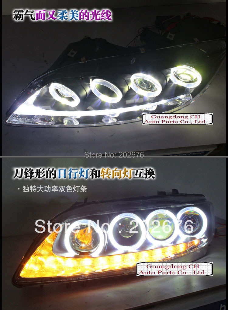 , CHA 2004-2012 ANGEL EYE HEADLIGHT V2, WITH LED TEAR AND BI-XENON PROJECTOR,COMPATIBLE CARS: MAZDA 6 M6 - Guangzhou DLand Auto Parts Co., Ltd. store
