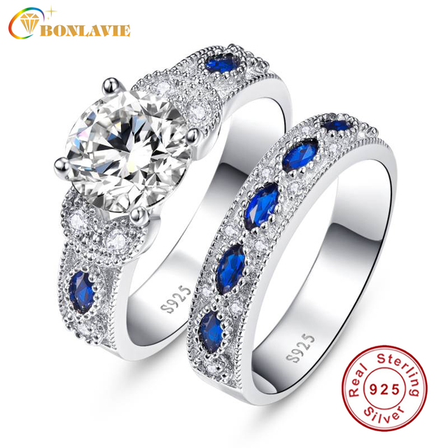 BONLAVIE Blue Sapphire Decorative Couple Wedding Rings 100% 925 Sterling Silver Couple Ring Set Love Gift for Each Other