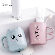 OYOURLIFE Eco-friendly Cartoon Toothbrush Cup Portable Couples Tumblers Milk Coffee Bathroom Accessories Set