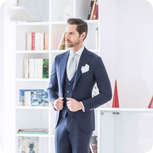 цена на Men Suit For Wedding Navy Blue Bridegroom Blazer Prom Groomsmen Custom Made Tuxedos Slim Fit Formal Terno Masculino Groom Wear