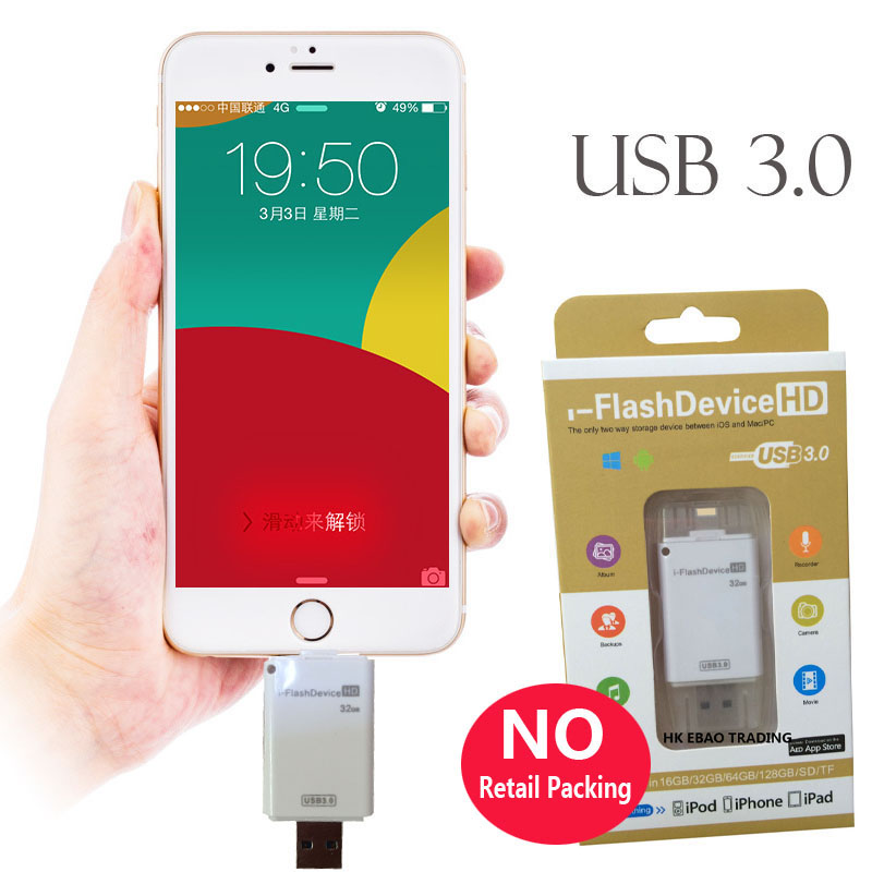 купить New USB 3.0 Drive Memory Stick U Flash USB3.0 Disk 32gb 64gb 128gb for iPad Pro Air for iPhone 7 6 6S Plus 5 5S 5C SE PC недорого