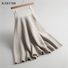 High Quality black grey thernal warm thick midi a-line knitted skirt for women winter stretch high waist umbrella skirts