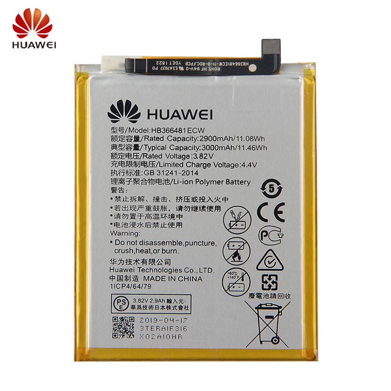 Original HB366481ECW Battery For Huawei Honor V9 Play P10 Lite P20lite G9 Honor 5C 7C 7A Enjoy 7S 8E Replacement Battery 3000mAh in Mobile Phone Batteries from Cellphones Telecommunications