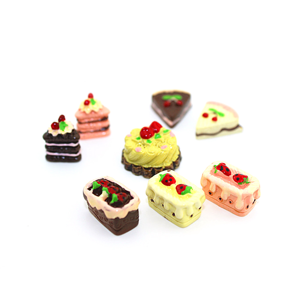 8 Pcs Funny Cute Simulation Miniature Mini Resin Food Fruit Cake Doll Pretend Play House Toys Miniature Accessories Toy Set Gift