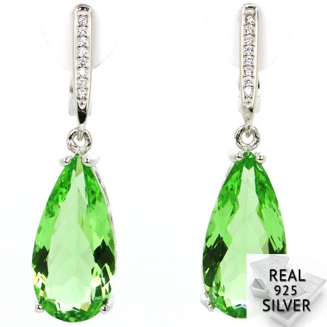 7.4g Real 925 Solid Sterling Silver Deluxe Top Drop Shape Green Tsavorite Garnet Pink Kunzite CZ Earrings 36x10mm