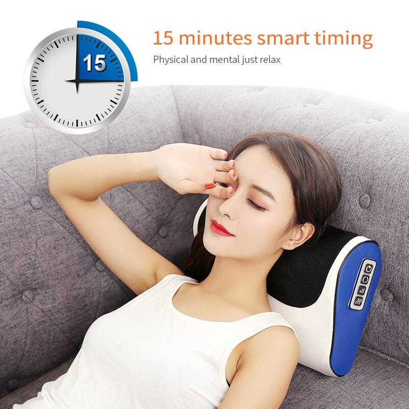 Infrarouge Chauffage Cou Épaule Retour Corps Multifonctionnel oreiller de massage Shiatsu appareil de massage Cervical Sain Massageador - 4