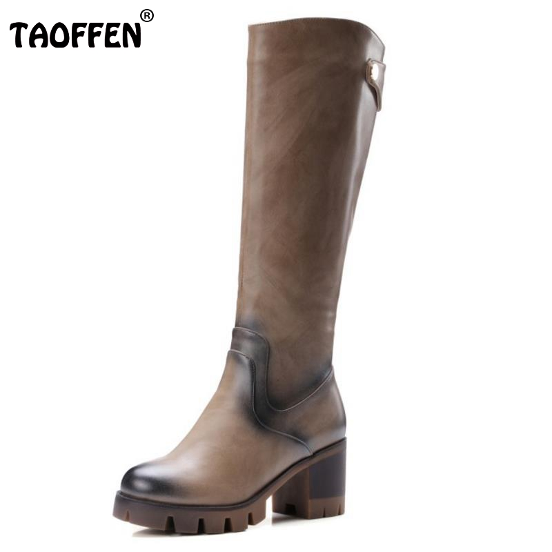Women Round Toe Platform Knee Boots Woman Round Toe Square Low Heel Shoes Ladies Brand Vintage Boot Bootines Mujer Size 32-42 women round toe ankle boots woman fashion platform wedge botas ladies brand suede leather high heel shoes footwear size 34 47