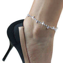 Sexy Clear Rhinestone Anklet Foot Sandal Beach Wedding Jewelry Office Ladies Ankle Bracelet