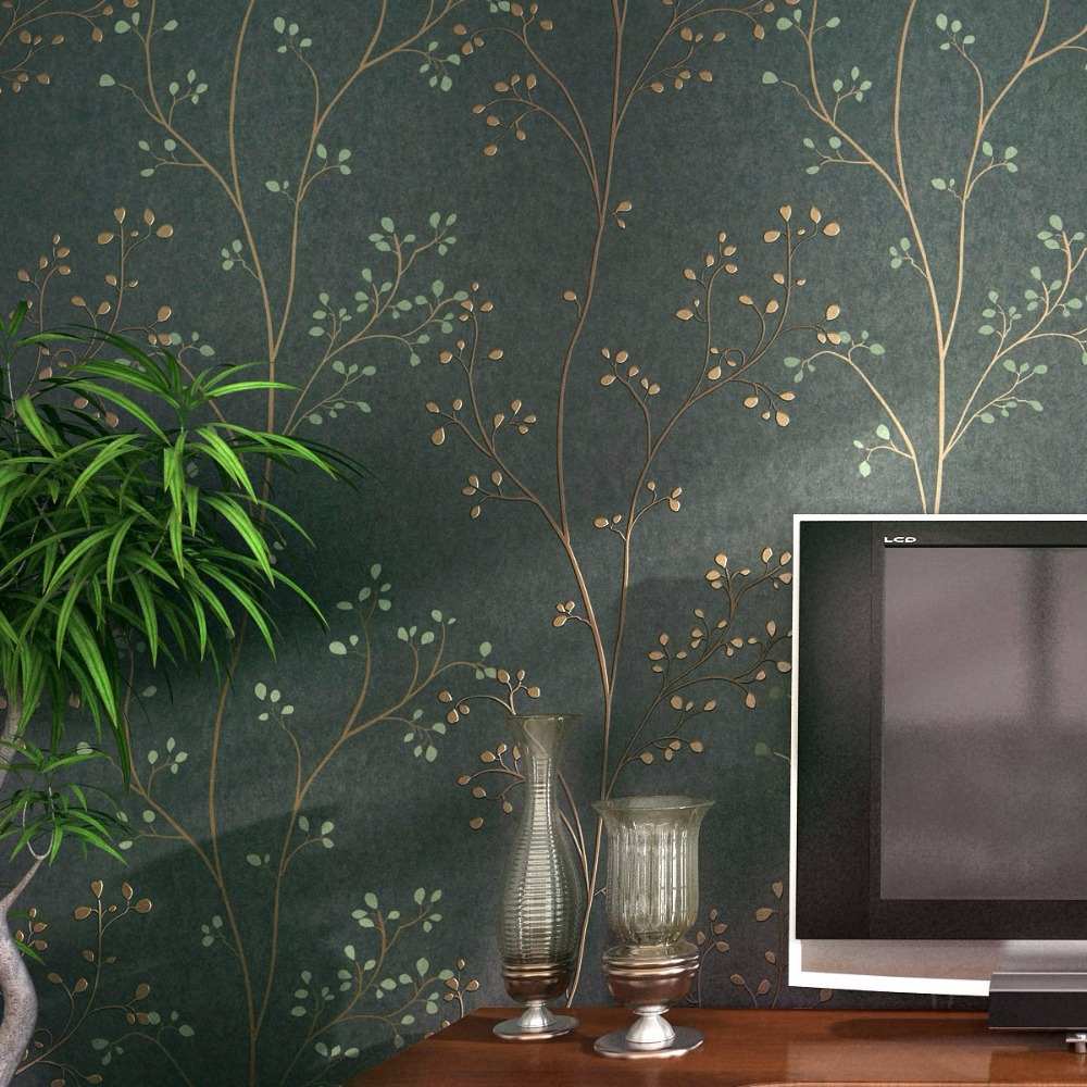 American Style Village Non-woven Wallpaper 3D Pastoral Tree Branches Leaves Living Room Bedroom TV Background Decor Wallpaper book knowledge power channel creative 3d large mural wallpaper 3d bedroom living room tv backdrop painting wallpaper