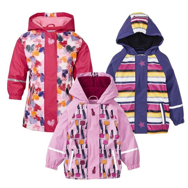 2018 осенне-зимняя детская куртка из искусственной кожи для маленьких девочек, пальто, непромокаемая ветрозащитная верхняя одежда, флисовый плащ-пончо, Свободное пальто