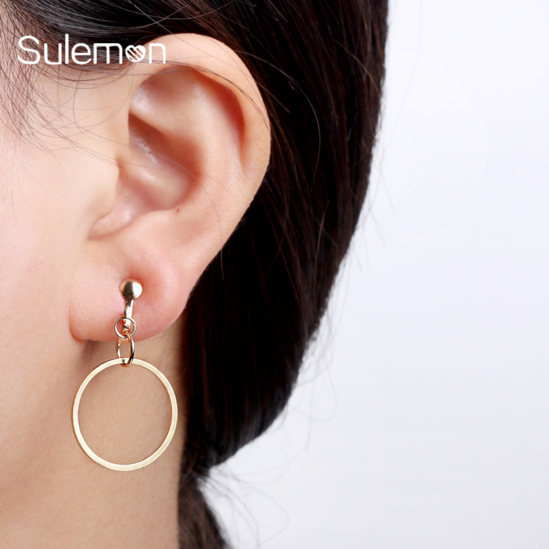 Geometrisk Round Clip Earring Ingen Pierced Ear Clips Trendy Gold-Color Metal Øredobber For Women Fashion Minimalistiske smykker CE20