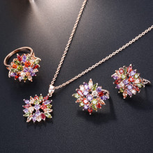 3pcs/Set Rose Gold Zircon Rhinestone Colorful Zircon Crystal Bridal Flowers Earrings Necklace Ring For Women Jewelry Dropship цена