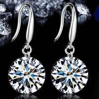 Pendientes pequeños de cristal de moda para mujer, Vintage, circonita cúbica de alta gama, pendientes de plata pequeños para mujer