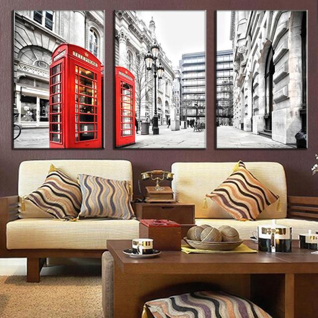US $12.47 43% di SCONTO|3 Pz Senza Cornice Moderna arte della parete della  tela Londra cabina telefonica rossa tela Immagini Parete per Soggiorno ...