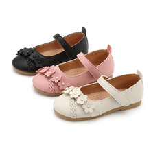 Pink Black 2019New Kid Shoes Childrens Girls Shoes Flowers Princess Soft bottom Flat Shoes 3 4 5 6 7 8 9 10 11 12 13 14 15T 2019spring new kids shoes childrens leather shoes flowers princess shoes for girls flat shoes 3 4 5 6 7 8 9 10 11 12 13 14 15t