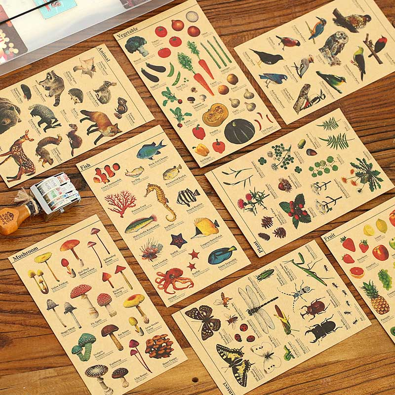 Cute Kawaii Cartoon Animal Stickers Creative Fruit Vegetables Sticky Paper For Scrapbooking Diary Free Shipping 1092 140 page note paper creative fruit design