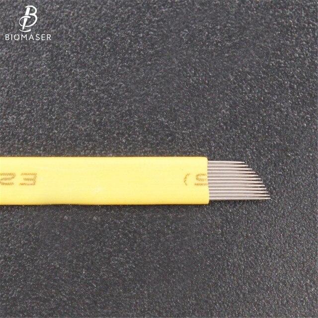 Biomaser 50pcs Permanent Makeup Eyebrow Tatoo Blade Microblading Needles For 3D Embroidery Manual Tattoo Pen 4