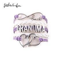 Little MingLou Infinity love grandma bracelet heart feet charm Bracelet for women wrap braid leather bracelets & bangles jewelry