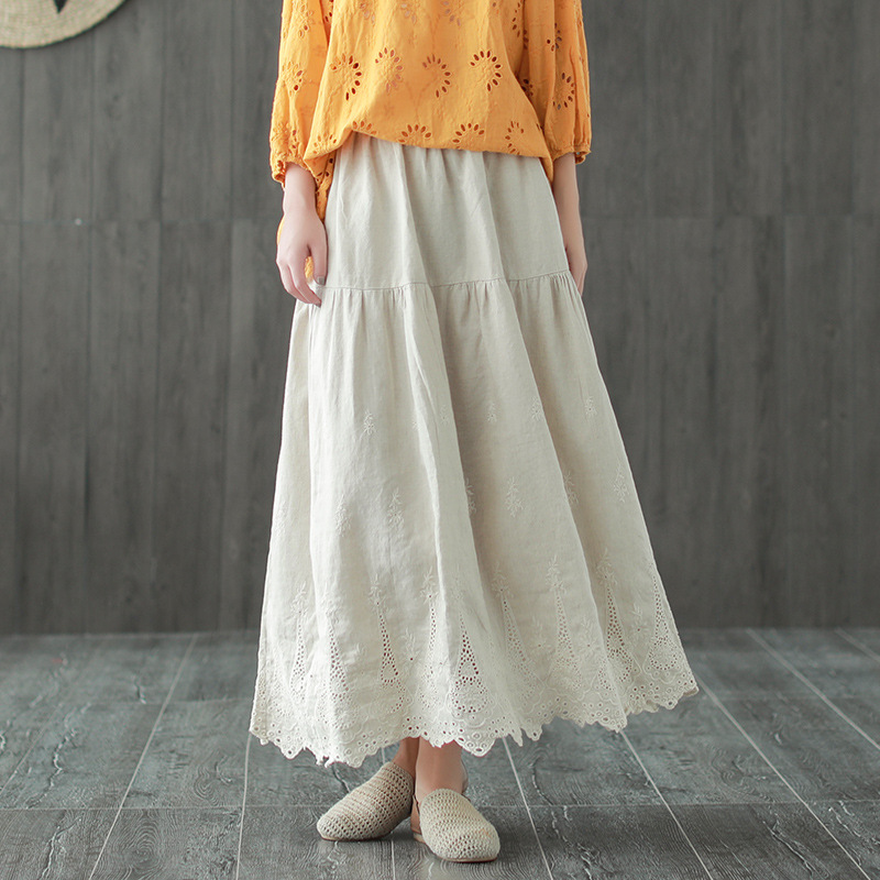 Autumn New Literary Lace Embroidery Patchwork Vintage Cotton Linen Women A Line Stitching Loose Retro Midi Skirt