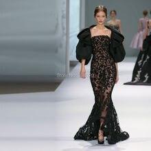 Mermaid Black Lace Sexy Durchsichtig Abendkleid 2015 Cannes Film Festival Roten Teppich Haute Couture Celebrity Formale Kleid