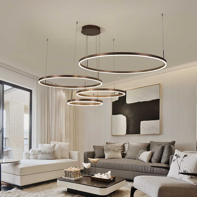 led chandelier Living room chandelier modern minimalist creative personality round Nordic restaurant bedroom bar led chandelier